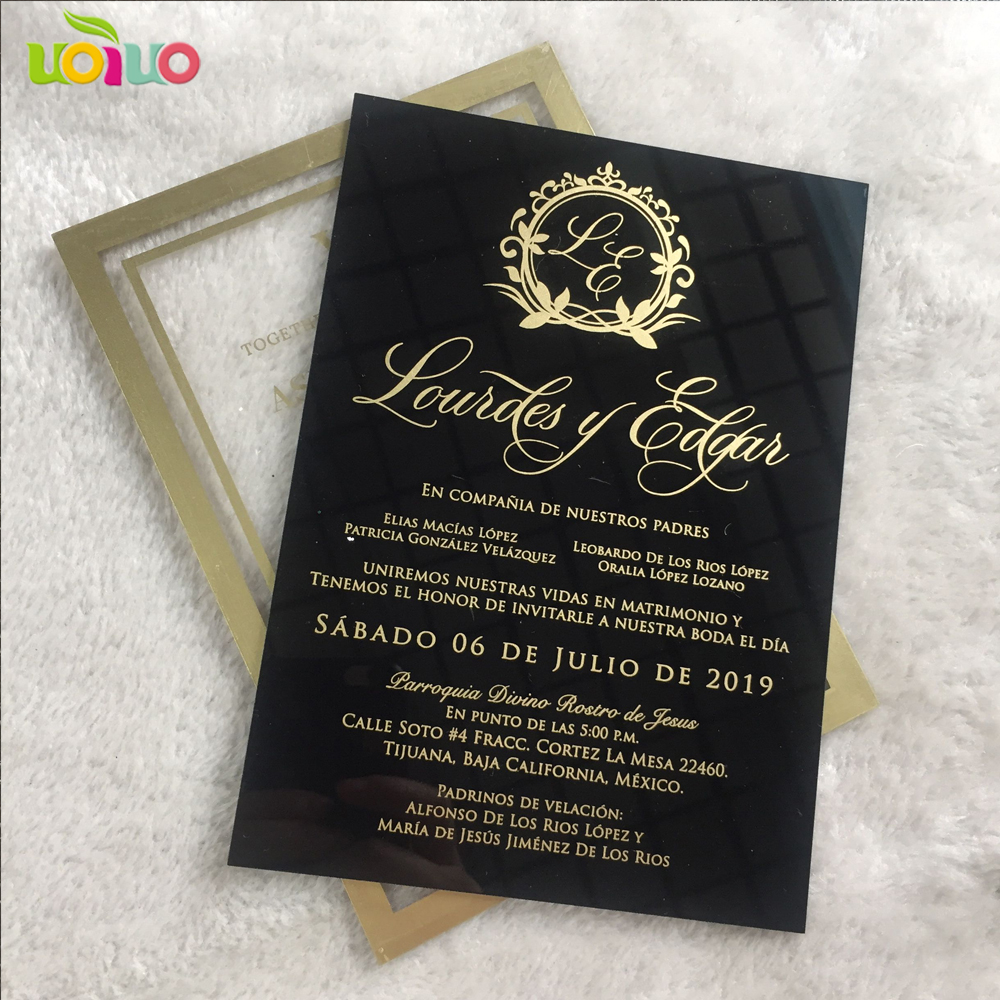 Us 11 7 30pcs Newest Transpa Glass Acrylic Wedding Invitation Card Gold And Rose Word Printing Favor Invitations Sample In Cards