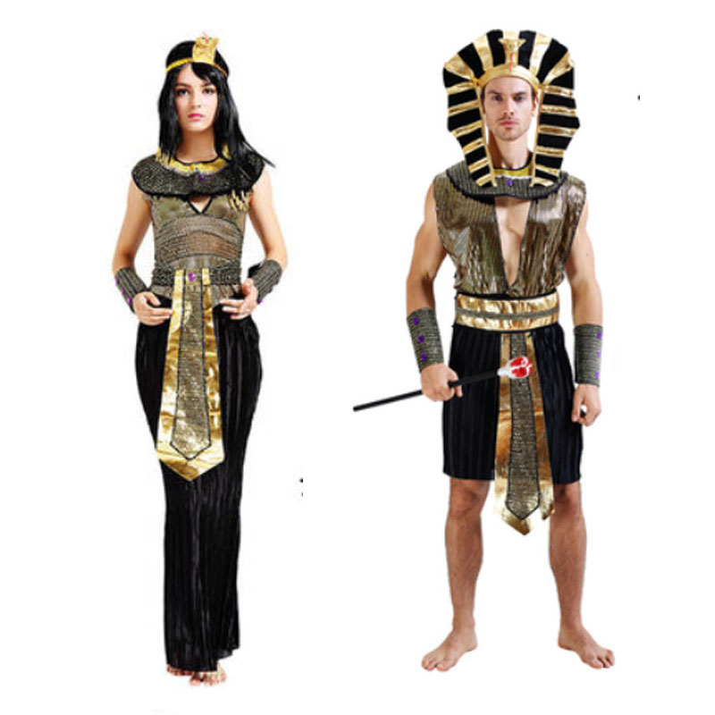 Woman Man Adult Egypt Prince Princess Queen King Pharaoh Cosplay Halloween Costume New Year
