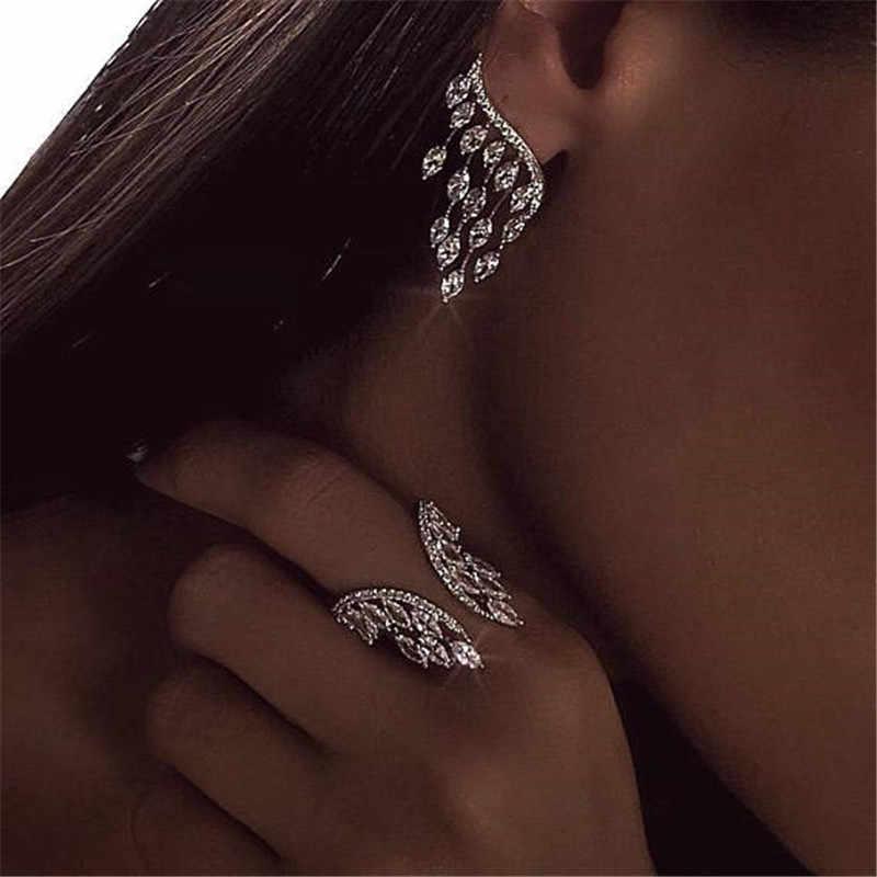 Choucong женское кольцо с крыльями ангела 925 пробы серебро AAAAA Циркон cz Обручальное кольцо кольца для женщин ювелирный подарок на палец