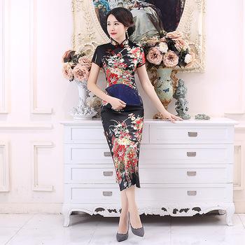 Plus rozmiar 6XL chińskich kobiet Cheongsam pani Qipao czarny kwiat wydruku długiej sukni ślub panny młodej sukienki elegancka suknia Vestidos tanie i dobre opinie YZYOUTHZING Poliester Rayon Cheongsams Satin Black 11 Colors S M Xl 2xl 3xl 4xl 5xl 6xl To The Ankle Mandarin Collar Short Sleeve