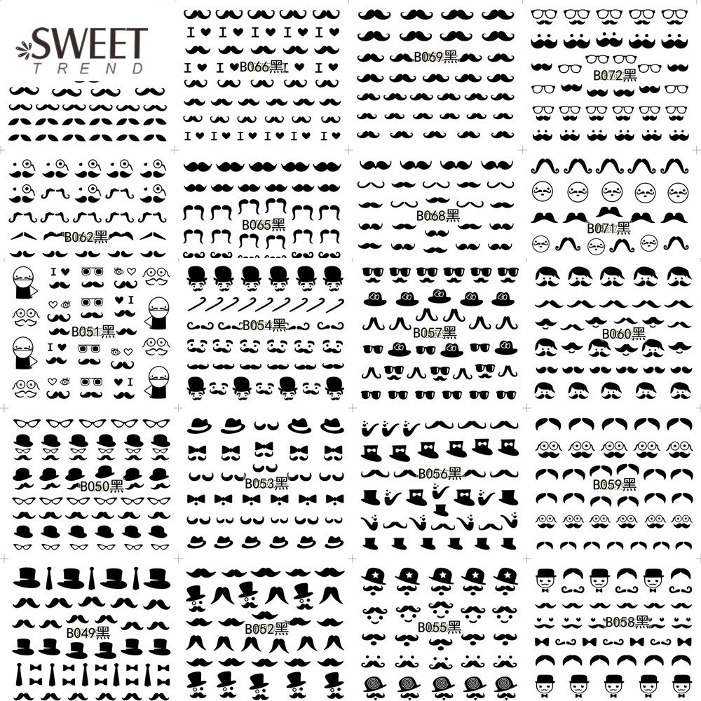 48Sheets Mustache/Snowflake/Feather Nail Art Stickers