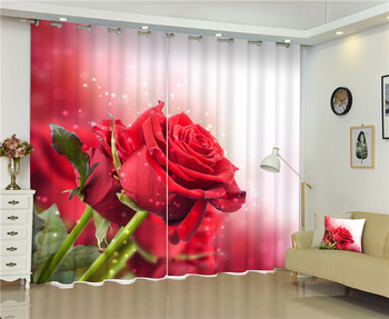 2017 red rose 3D Blackout Curtains For Living room Bedding room Decor Tapestry Wall Carpet Drapes Cotinas