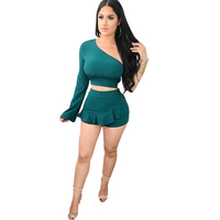 Sexy Two Piece Set Women One Shoulder Crop Tops Ruffles Shorts Slim Tracksuit Summer Beach Wear
