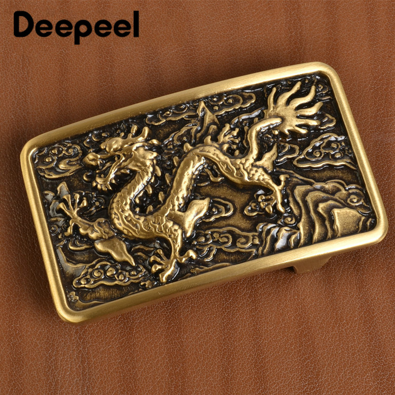 Chinese Dragon Solid Brass Men Belt Buckles Fashion Metal Belt Head For Belt 38-39mm DIY Leather Craft Jeans Accessories YK111
