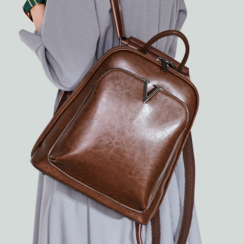 Oil Wax Genuine Leather Women Backpack Cross Body Shoulder Bags Cowhide School Daypack Fashion Retro Female
