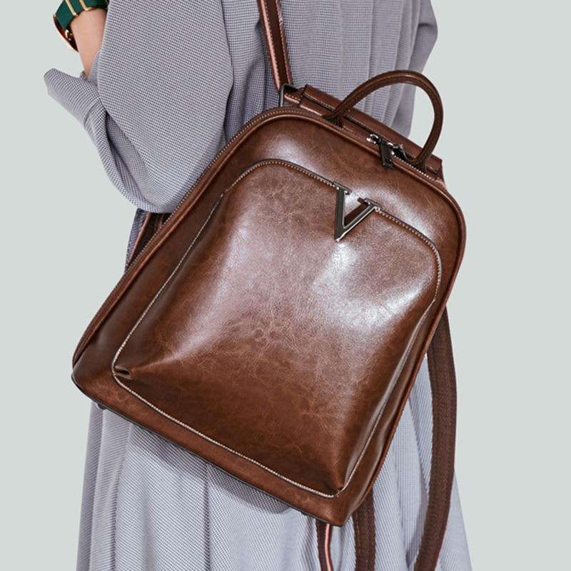 Oil Wax Genuine Leather Women Backpack Cross Body Shoulder Bags Cowhide School Daypack Fashion Retro Female Rucksack Knapsack #1