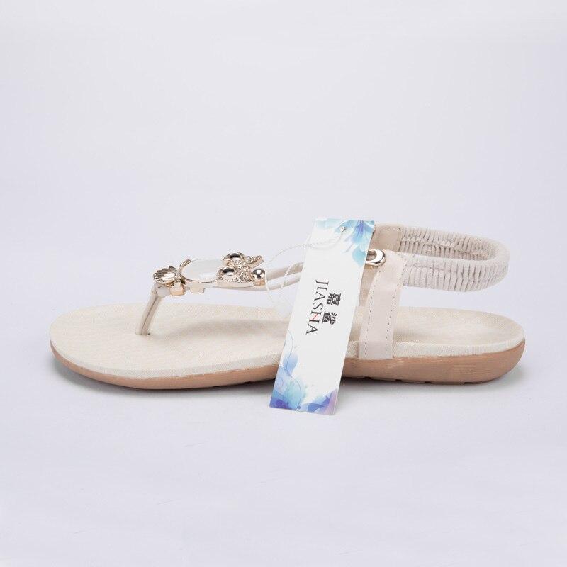 Women shoes 2019 hot fashion women sandals elastic t-strap bohemia beaded owl slipper flat sandals women summer shoes flip flop