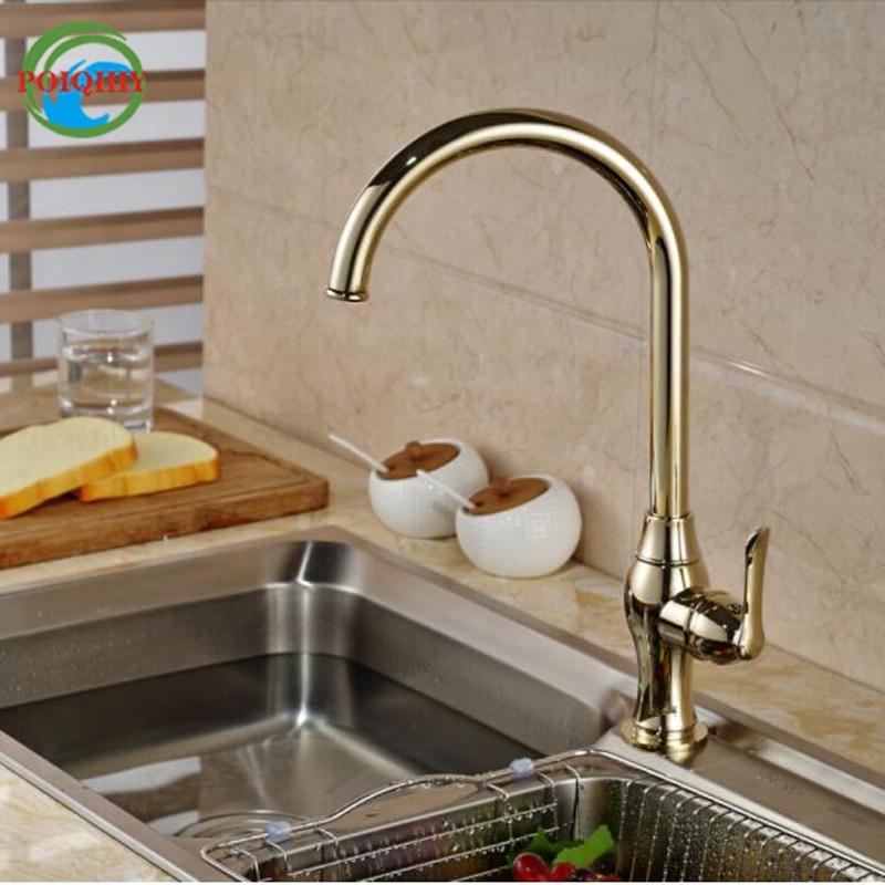 купить Gooseneck Rotation Kitchen Faucet Single Handle One Hole Mixer Tap Hot Cold Water Faucet Deck Mount по цене 5357.18 рублей