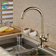 Гусенек вращения кухонный кран Одной ручкой одно отверстие смеситель горячей холодной воды кран Палуба Гора