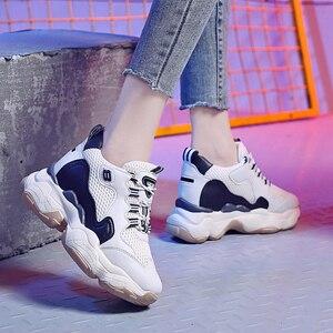 Image 5 - Donna Casual scarpe Traspirante Chunky Scarpe Da Ginnastica 9 centimetri Altezza Aumentare Scarpe Da Tennis Della Piattaforma Casual Ascensore Scarpe Degli Appartamenti Delle Signore scarpe Da Ginnastica