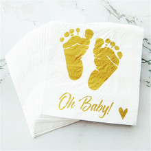 20pcs/lot Baby Shower Napkins Oh Beverage Gold Printed Babys Feet for Boy and Girl Birthday Party Supplies