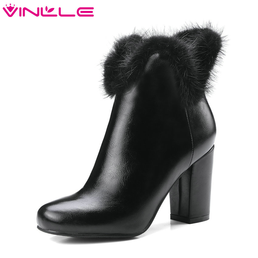 VINLLE 2018 Women Boots Ankle Boots Square High Heel Pointed Toe Zipper Fur Sexy Black Ladies Motorcycle Shoes Size 34-43 qutaa 2018 women ankle boots square high heel pointed toe zipper all match women shoes ladies motorcycle boots size 34 43