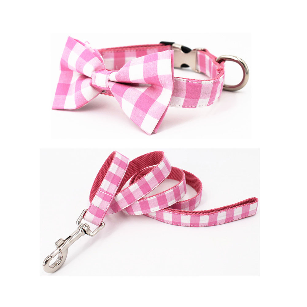 Pink plaid collar and leash set with bow tie cotton dog cat necklace and dog leash
