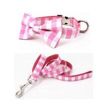 Розовый клетчатый ошейник и поводок набор с галстуком-бабочкой Хлопок Собака и ожерелье с кошкой и поводок для собаки для питомца свадебный подарок