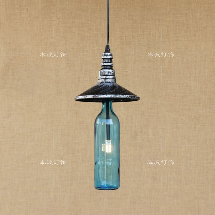 American water bottle pendant lights cafe bar restaurant kitchen personality glass iron Industrial Corridor pendant lamps ZA adnart flavour it glass water bottle with fruit infuser