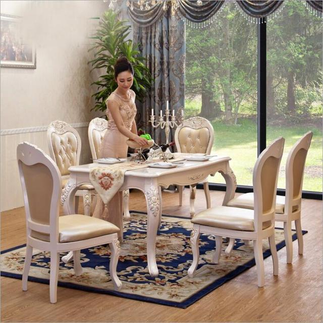 Modern Style Italian Dining Table, 100% Solid Wood Italy Style Luxury Dining  Table Set 6 Chairs O1101