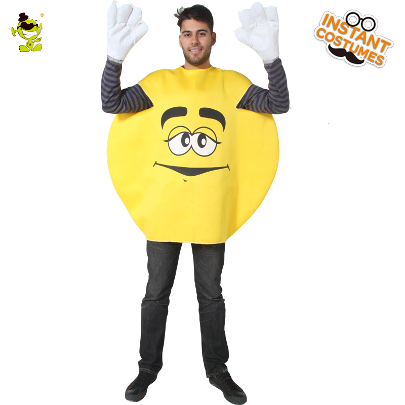 QLQ New Arrival Adult Men's Bean Emoji Mascot Costume Yellow&Cute Emoji Clothes Carnival Party Role Play Funny Emoji  Costumes