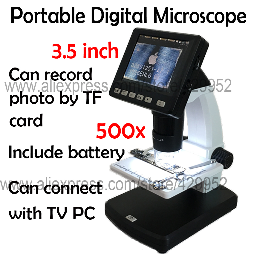 efix 500x Portable Digital Video AV Out Put 3.5 Inch LCD Display Microscope For iPhone Chip IC BGA PCB Repair Fix 600x portable 4 3inch hd oled display lcd digital video microscope magnifying glass with 8 led light