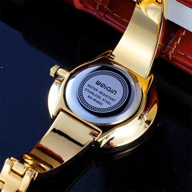 WEIQIN Rose Gold Luxury Brand Donne Vigilanze del Braccialetto delle Signore di Modo Vestono Orologio Da Polso Ragazze di Disegno Semplice Orologio Al Quarzo Ore