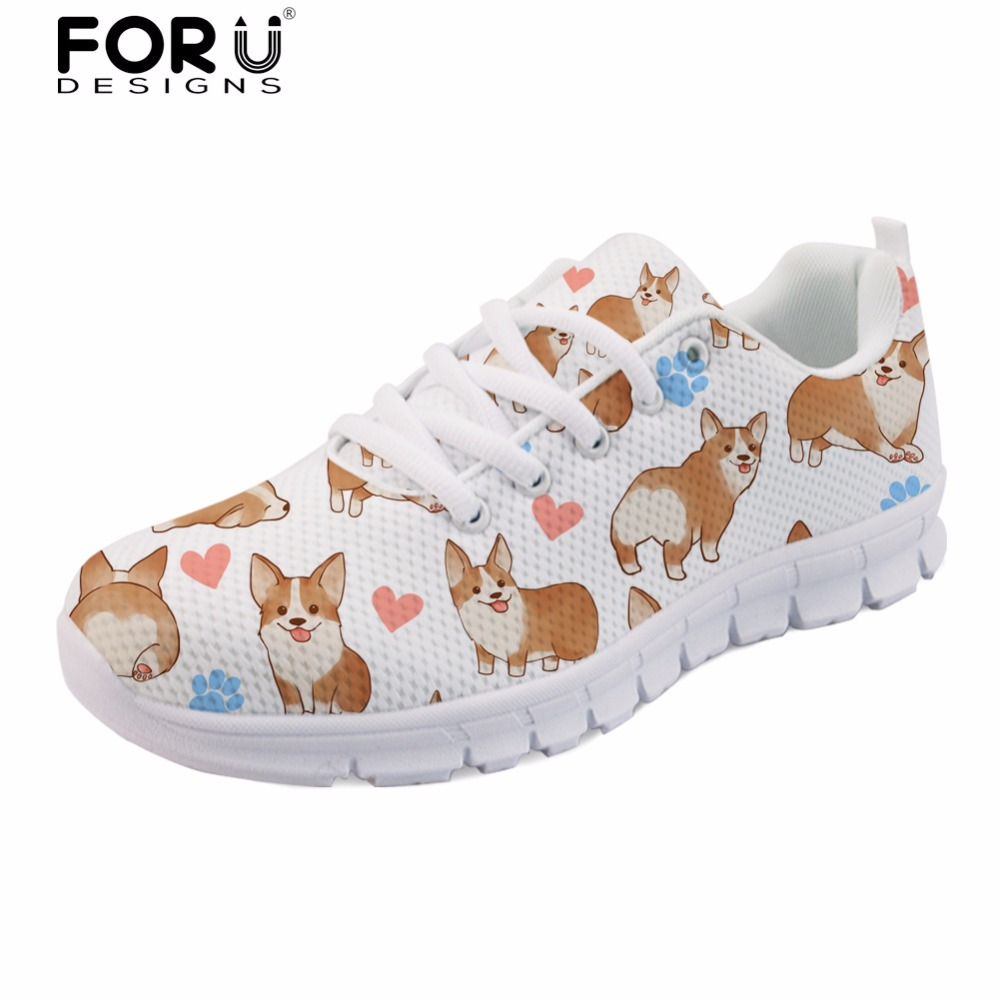 FORUDESIGNS Spring Flats Shoes Women Cute Dog Printed Women's Casual Sneakers Flat Lightweight Mesh Shoes Woman Zapatos Mujer instantarts 2018 cute cartoon cat printed women s flats shoes female summer mesh flat sneakers shoes casual shoes zapatos mujer