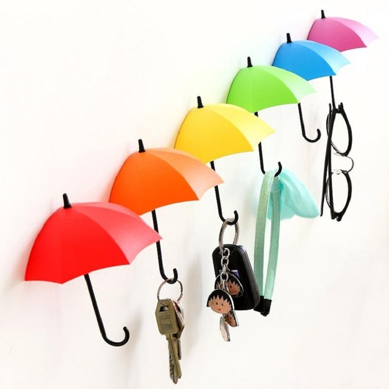 3Pc/lot Wall Mount Door Hook Key Holder Rack Colorful Umbrella Shaped Lovely Bathroom Wall Hangers Kitchen Decorative Organizer