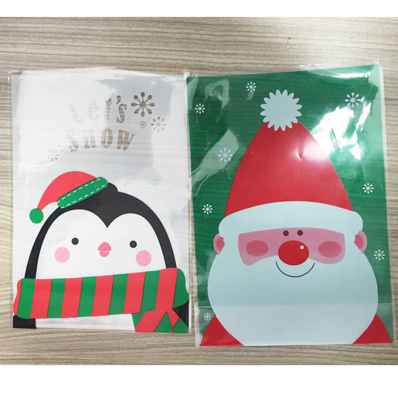 10pcs Santa Claus Penguin Christmas Gift Treat Bags Plastic Cookies Biscuits Candy Packaging Bag Birthday Party Wedding Favor