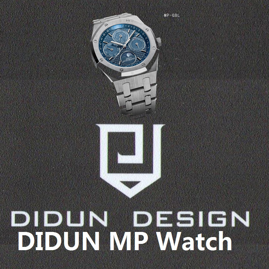 Mechanical Automatic Sliver Watch Watch 30M Waterproof Moonphase Wristwatch