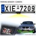 HD CCD Câmera de Visão Traseira Do Carro de Licença Europeia UE Frente View Camera License Plate Quadro da Câmera de Estacionamento Com Dois de Estacionamento sensores