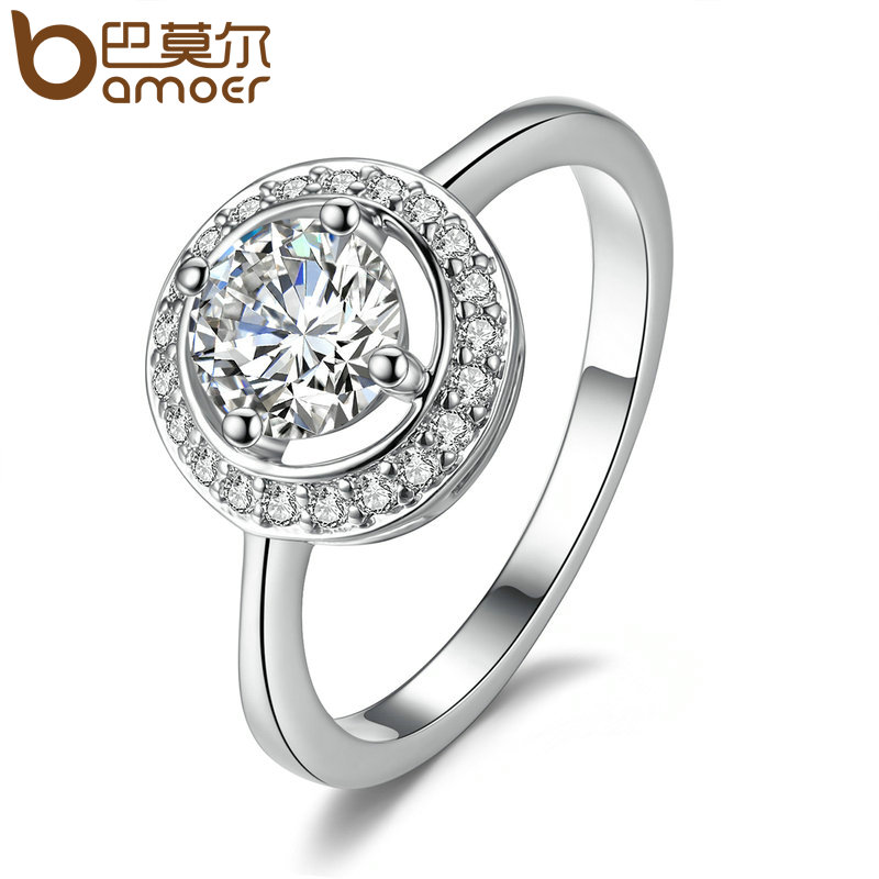 Bamoer Luxury Brand Fashion Silver Color Round Shape Full