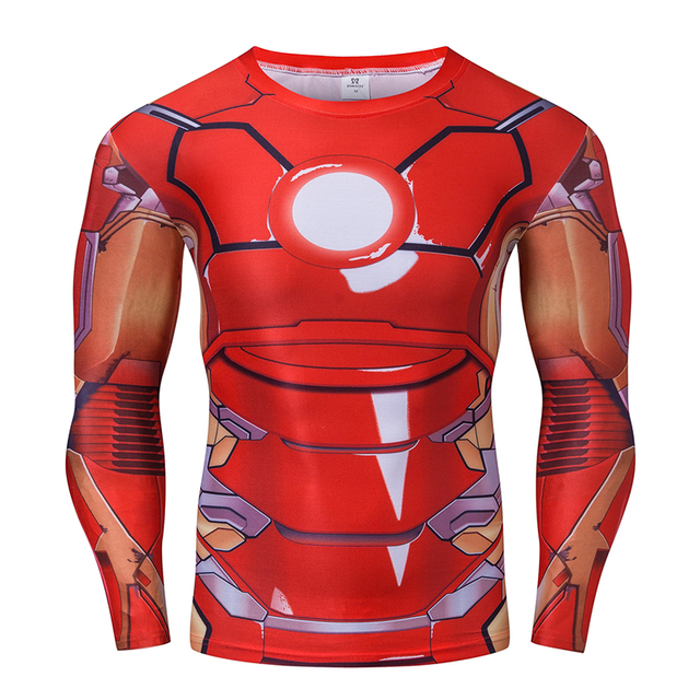 Tony Stark Ironman Marvel Superhero Men Manga Comprida 3D Impresso T-shirt De Compressão De Fitness Tops S-4XL