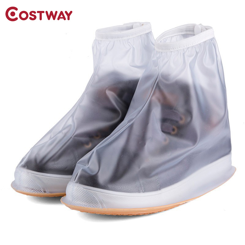 COSTWAY Men Women's Rain Waterproof Flat Ankle Boots Cover Heels Boots Shoes Covers Thicker Non-slip Platform Rain Boots S0154