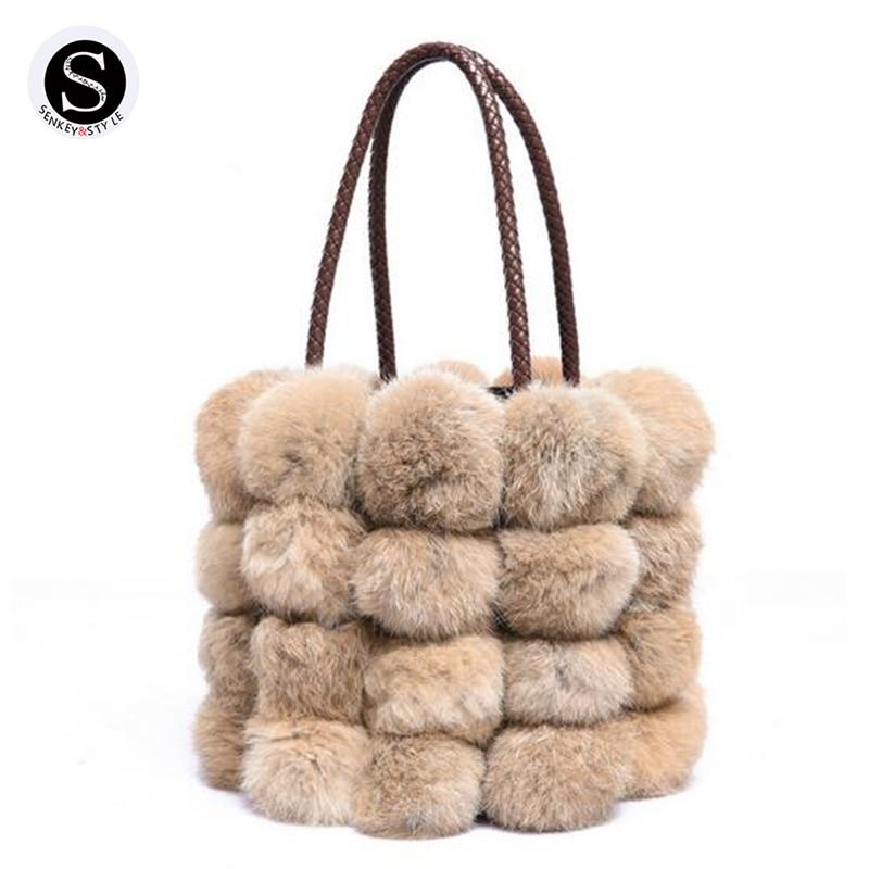 Senkey Style Axelväskor för kvinnor Bucket Faux Fur 2017 Lady - Handväskor
