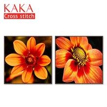 Наборы для вышивки крестиком, наборы для рукоделия с напечатанным рисунком, 11ct-холст для домашнего декора, цветы полный NCKF075