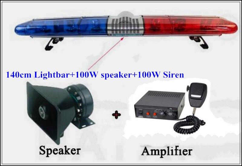 Выше Star 140 см DC12 184 Вт галогенные поверните предупреждение световой для полиции скорой помощи Fire + 100 Вт динамик + 100 Вт сирена, водонепроницаем