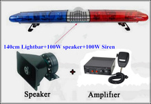 High quality140cm DC12 184W Halogen Rotate warning lightbar for police ambulance fire+100W speaker+100W siren,waterproof