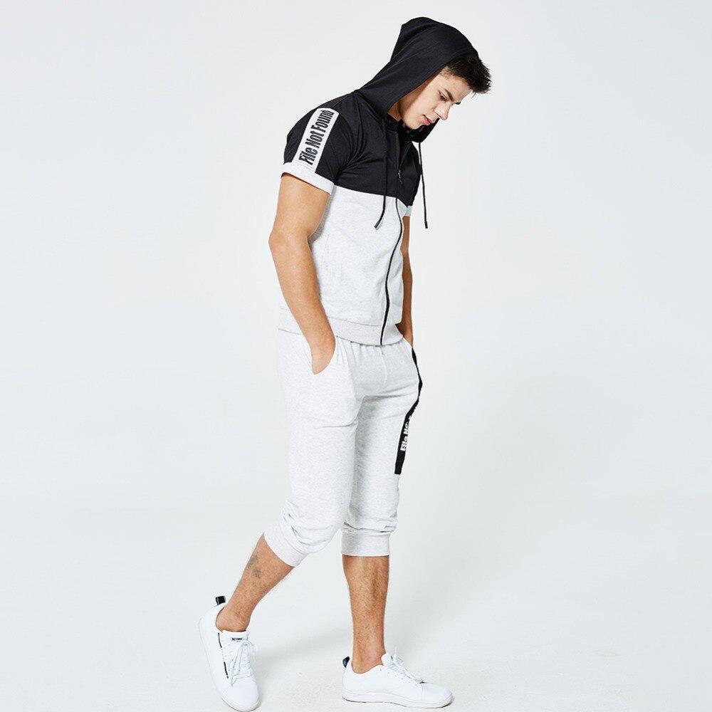 Europe Size Sporting Mens 2pcs Summer Set Men Sleeveless Hooded Top+Shorts Letter Print Tracksuit Men Short Set Sporting Suit