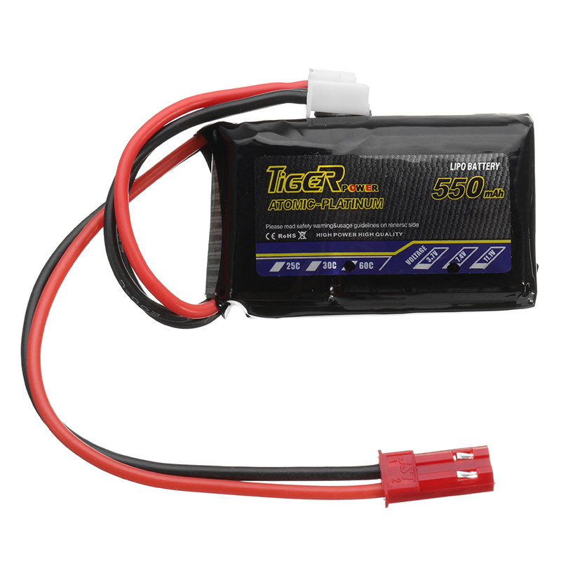 все цены на Tiger Power 7.4V 550mAh 60C 2S Lipo Battery JST Plug For RC FPV Racing Camera Drone Spare Parts Accessories онлайн