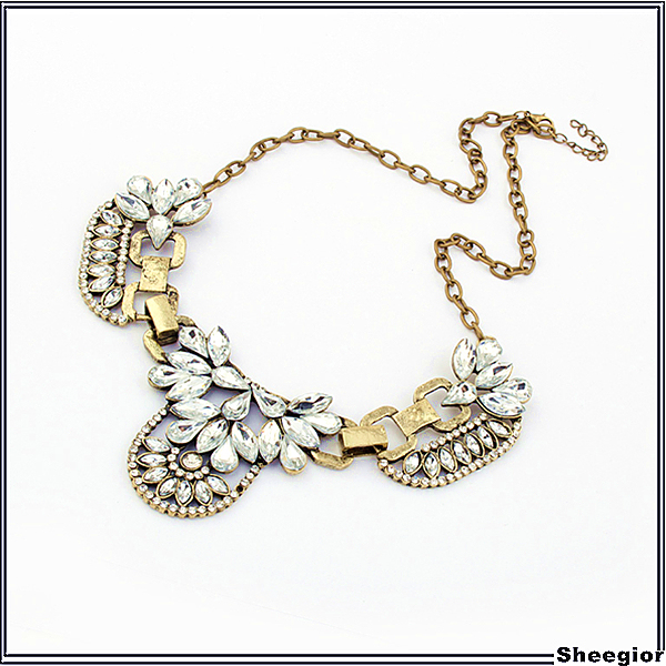 Vintage Crystal choker statement necklaces for women 2014 Fashion Shourouk necklace jewelry Free shipping