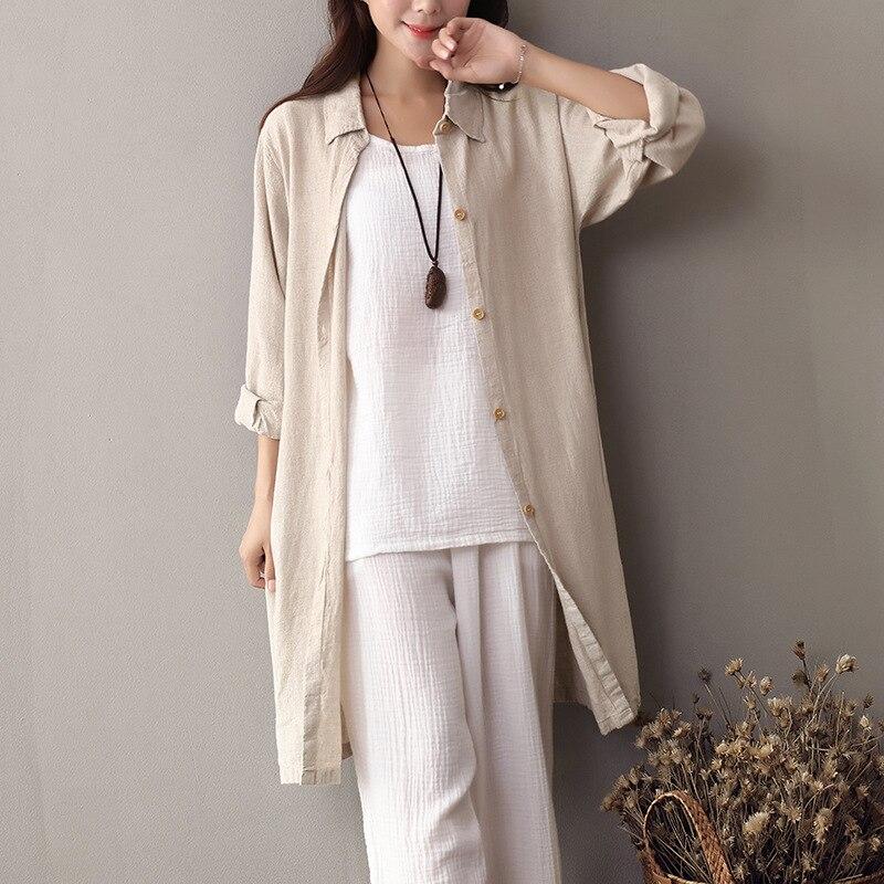 Beige turn down collar long sleeve shirt women linen long for Long linen shirts for womens