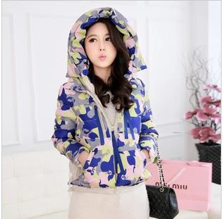 2014 Winter Fashion Korean New Camouflage Colored Clothing Down Jacket Women Hooded Coat Free Shipping
