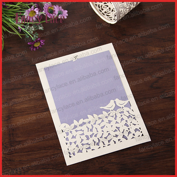 2017 new design laser cut paper elegant love bird design greeting cards wedding invitation card with blank inner cards 50pcs in cards invitations from