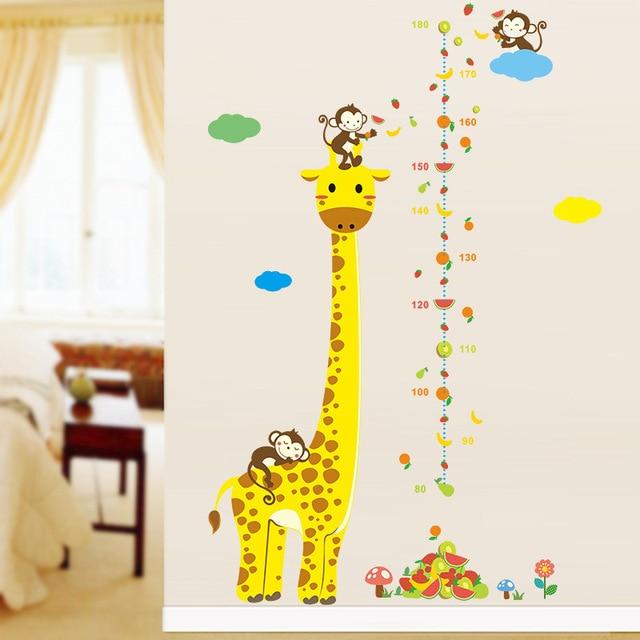 Kids height chart wall decals animal cartoon wall sticker monkey giraffe home decor for kids room