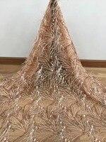 Роскошные перья дизайн с несколькими блестками хорошее качество африканский тюль Ткань 5 ярдов для свадьбы или вечеринки платье VISAFE223