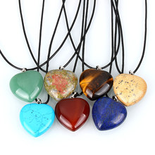 Fashion Jewelry Leather Cord Necklace Tiger Eye Quartz Opal Real Natural Stone Heart Pendant Necklace
