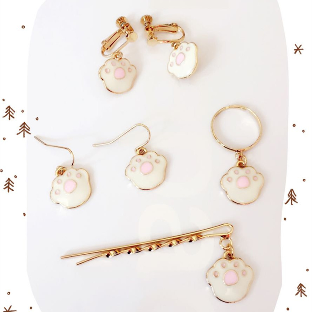 New fashion cute pink cat claw earrings ring ear clip hairpin jewelry suit Europe United States foreign trade jewelry wholesale
