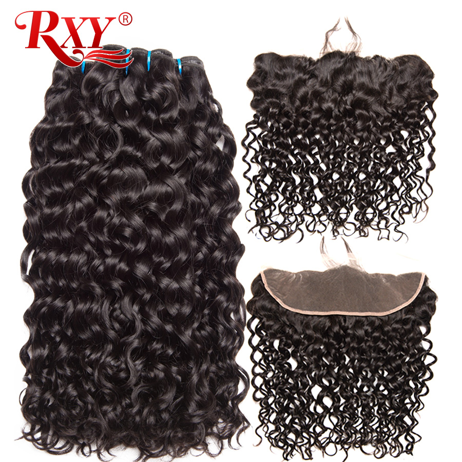 Brazilian Water Wave Human Hair Weave Bundles With Closure RXY Remy Hair Pre Pluck Ear To