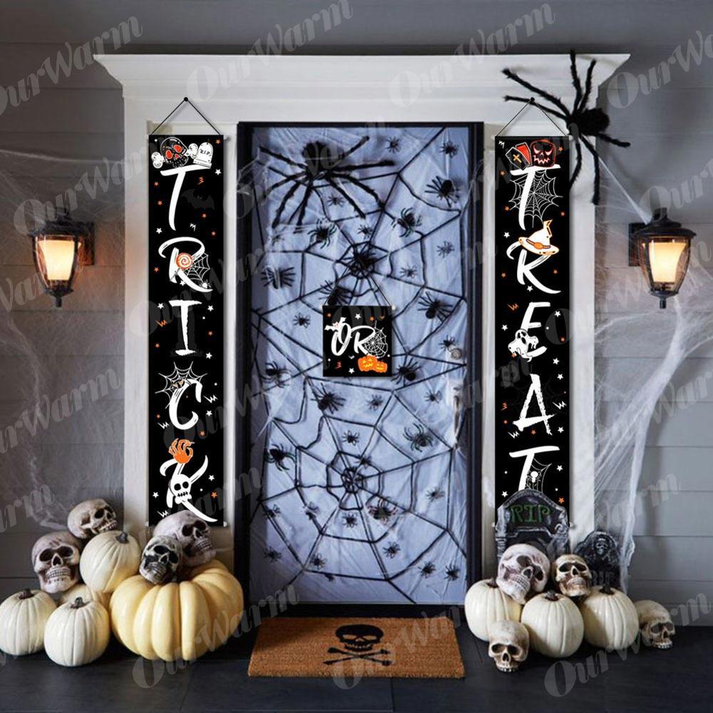 OurWarm Halloween Trick Treat Banner Home Window Door Sign Outdoor Decor Ghost Spiderweb Design Banner Halloween Party Decor DIY in Party DIY Decorations from Home Garden