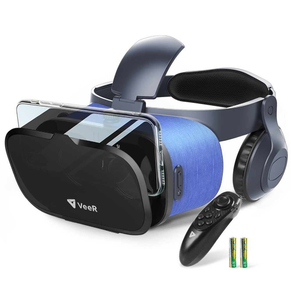 VeeR VR Headset, Universal Virtual Reality Built-in Microphone & Headphones, Compatible with 4.7-6.3 inches Smartphones