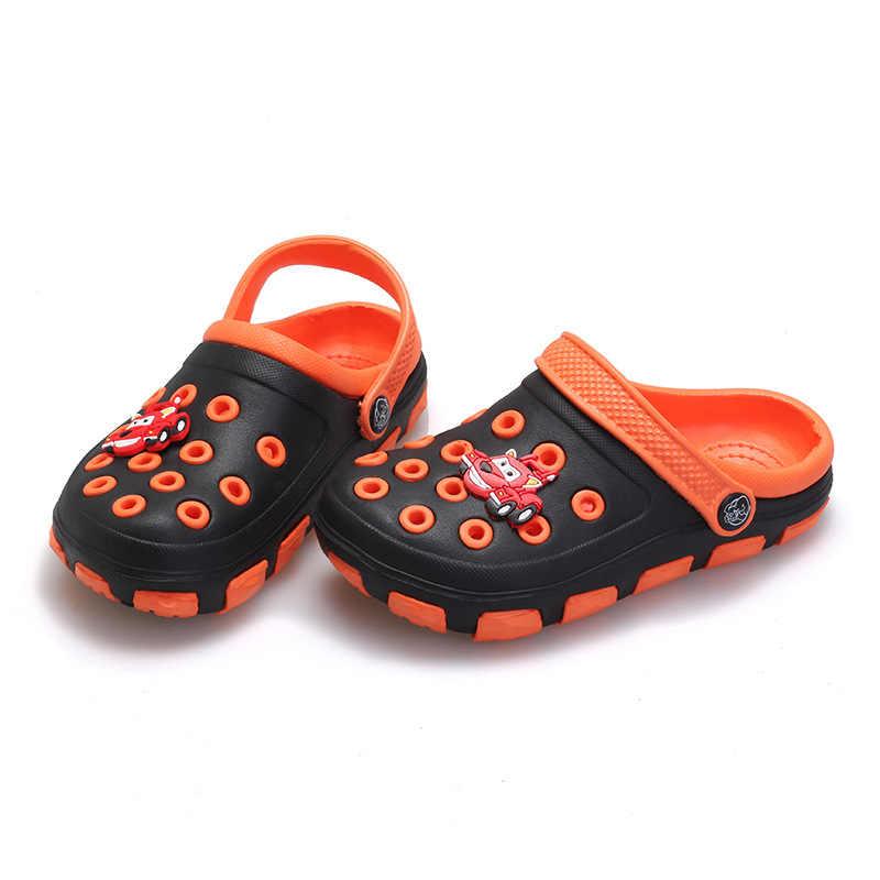 5cf3d535707bb ... summer little boys girls mules and clogs garden shoes hollow children  slipper cartoon frog PU shower ...
