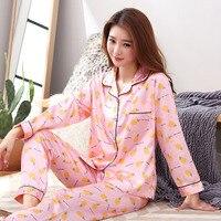 High Quality Pajamas Sets Women Spring Autumn Silk Generation Women Long Sleepwear Suit Home Women Gift
